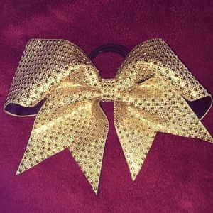 Other - Gold bow ponytail. For pom, dance or cheer